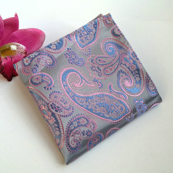Vintage Men's Paisley Handkerchief Floral Printed Pocket Square pink blue