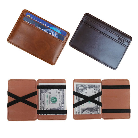 2016 New arrival High quality leather magic wallets Fashion men money clips card purse 2 colors - The Big Boy Store