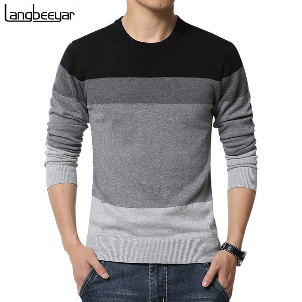 Autumn Fashion Brand Casual Sweater O-Neck Striped Slim Fit Black