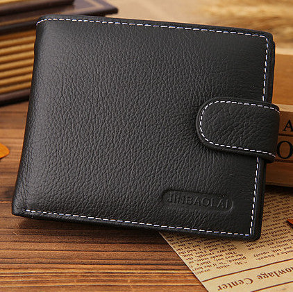 Famous brand genuine leather wallet hasp design wallets with coin pocket purse card holder Black