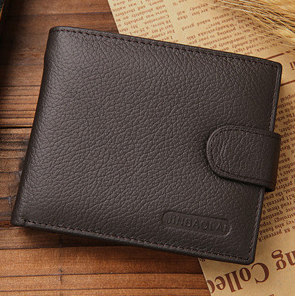 Famous brand genuine leather wallet hasp design wallets with coin pocket purse card holder Coffee
