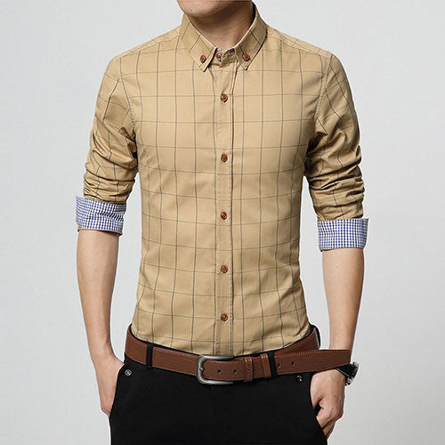 Fashion Brand Men Clothes Slim Fit Men Long Sleeve Shirt Kahki