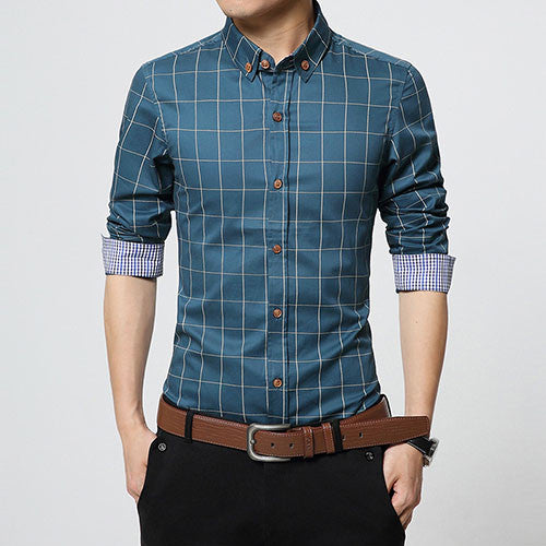 Fashion Brand Men Clothes Slim Fit Men Long Sleeve Shirt Lake Blue