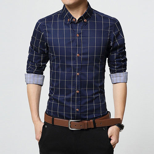 Fashion Brand Men Clothes Slim Fit Men Long Sleeve Shirt Dark Blue