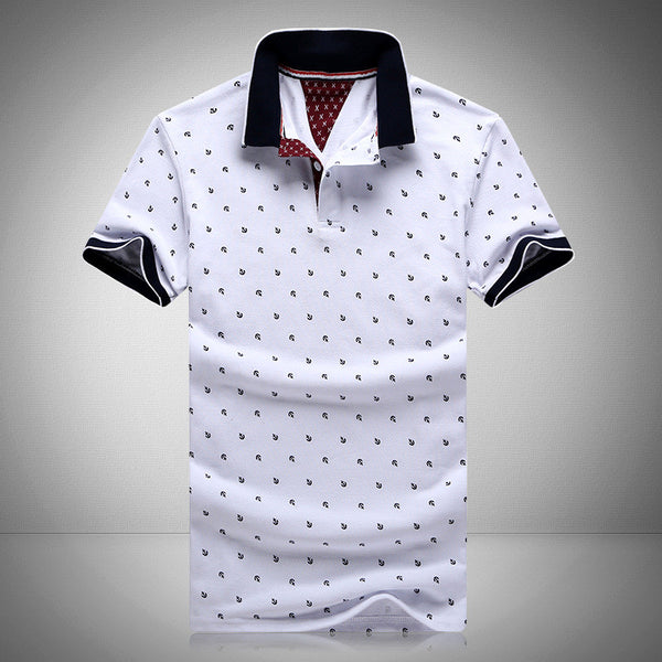 Mens Printed POLO Shirts Brands 100% Cotton Short Sleeve White