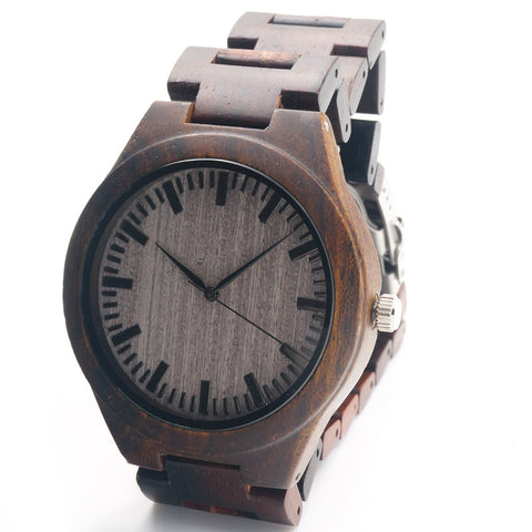 Men's Wood Wristwatch Classic Folding Clasp Quarzt Movement Wrist Watch with Wood Strap - The Big Boy Store