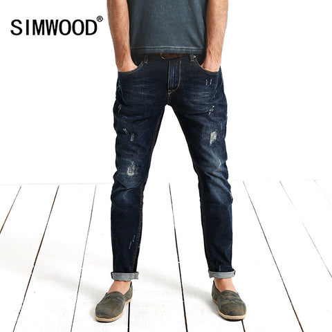 SIMWOOD High Quality Famous Brand Vintage Men's Jeans Casual Zipper Denim Pants