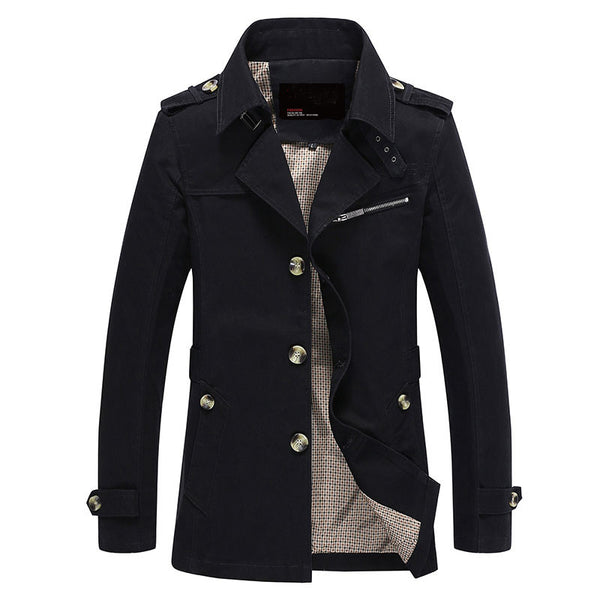 Men Jacket Coat Long Section Fashion Trench Coat Jaqueta Masculina Veste Homme Brand Casual Fit Overcoat Jacket Outerwear 5XL - The Big Boy Store