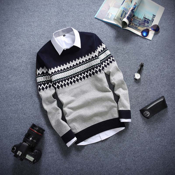 Autumn new models round neck long-sleeved men's sweater pullover thin coat