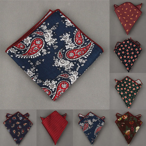 11 Styles Fashion Men's Cotton Pocket Square Western Style Floral Handkerchief