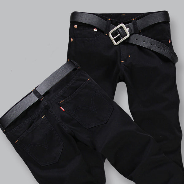New Arrival Four Season Men Jeans Slim Straight Pants Black Color Brand Cotton Jeans