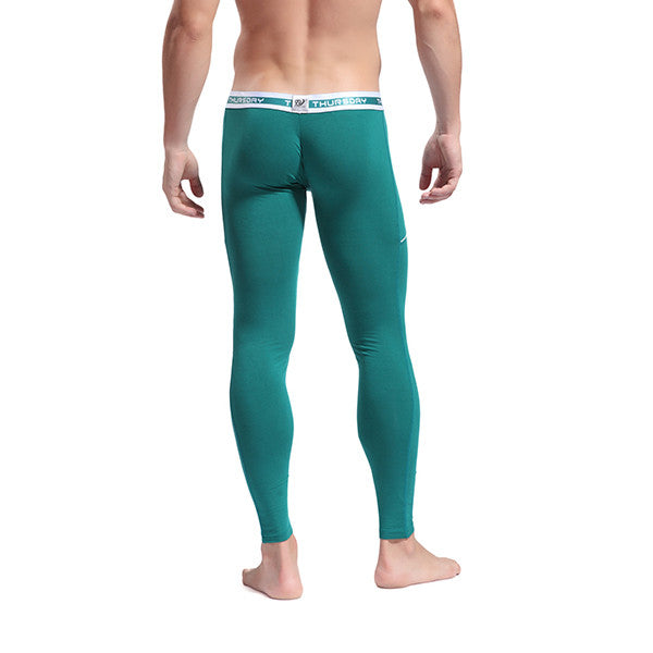 Men's Softed Long Johns Thermal Pants Solid Color Underwear Green
