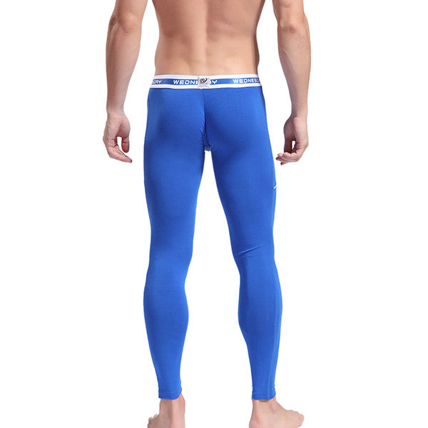 Men's Softed Long Johns Thermal Pants Solid Color Underwear Blue