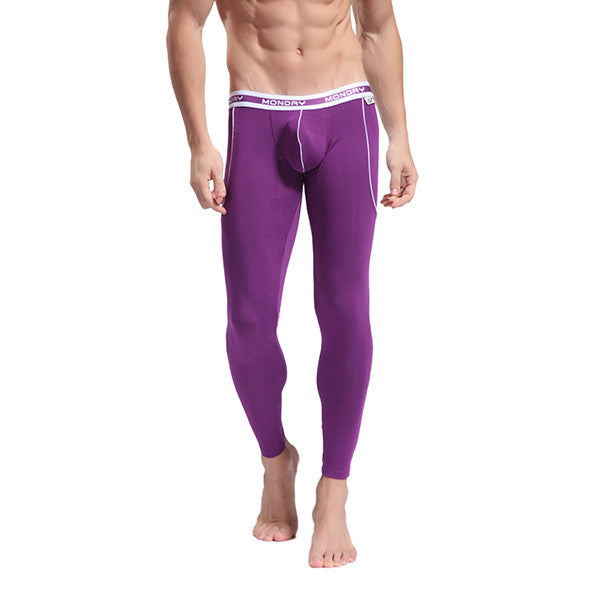 Men's Softed Long Johns Thermal Pants Solid Color Underwear Purple