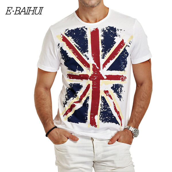 E-BAIHUI Brand Cotton men Clothing Male Slim Fit t shirt Casual T-Shirts Skateboard Swag
