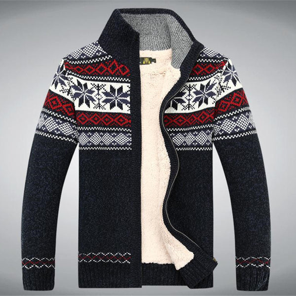 Size S -3XL 100% Cotton 2015 New Thicken Fleece Sweater Men Floral Pattern Cardigan Blusa Masculina Men't Clothing  A3043 - The Big Boy Store