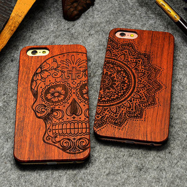 Retro PC+Wood Skull Case for iPhone 5 5S iPhone SE Cover for iPhone 5S 6 6S Plus 7 7 Plus 5.5inch - The Big Boy Store