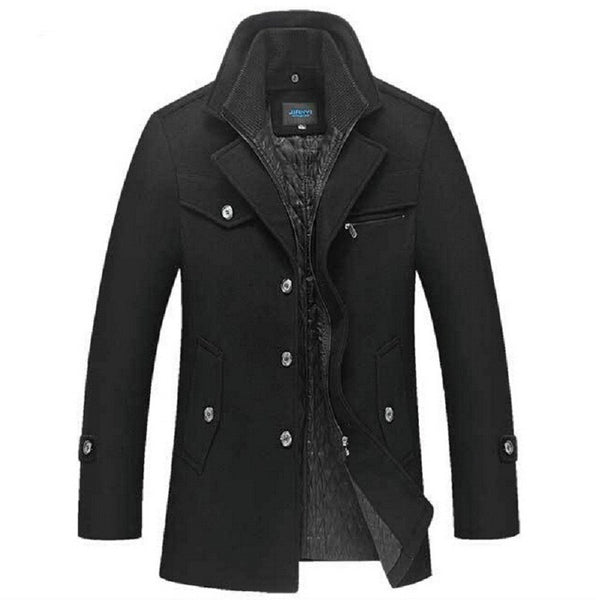 Brand New Winter Wool Coat  Slim Fit Jackets Fashion Outerwear Black