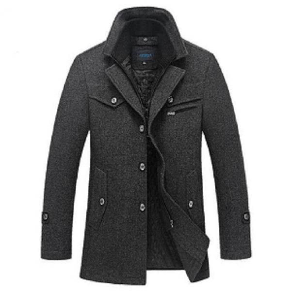 Brand New Winter Wool Coat  Slim Fit Jackets Fashion Outerwear Dark Grey