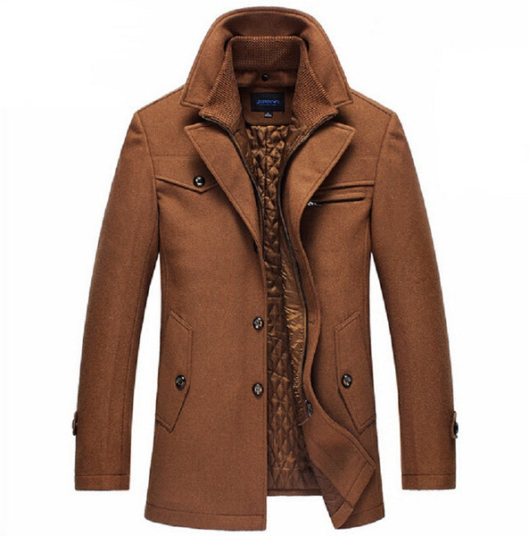 Brand New Winter Wool Coat  Slim Fit Jackets Fashion Outerwear Brown