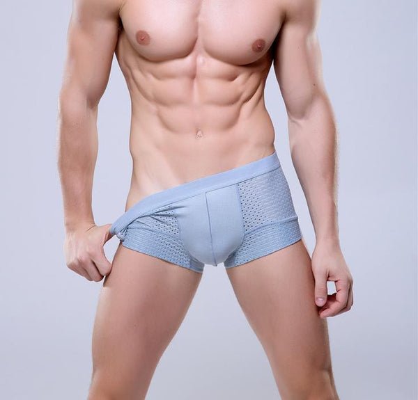 Breathable Mesh Silk Men's Boxer Mens Bodysuit Underwear light blue