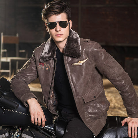 Men's real leather jacket pigskin air force jackets Motorcycle Genuine Leather Aviator jacket - The Big Boy Store