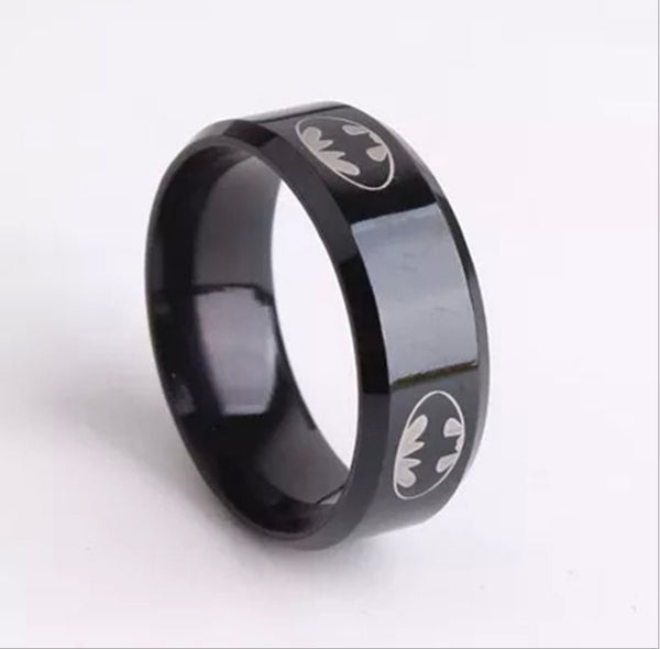 A 2015  Boys Men Black Batman Symbol Titanium Stainless Steel Rings For Men Women Party Free shipping - The Big Boy Store
