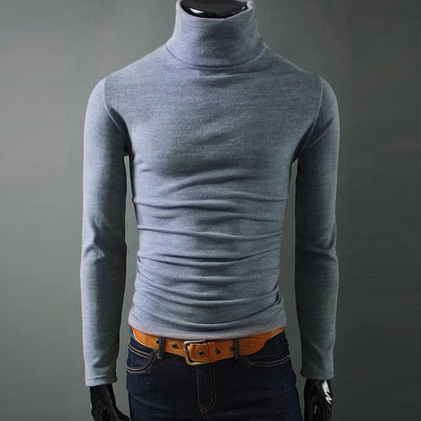 Turtleneck sweater period and the new men's high collar sweater thin sweater cultivating male male sleeve head bottoming sweater - The Big Boy Store