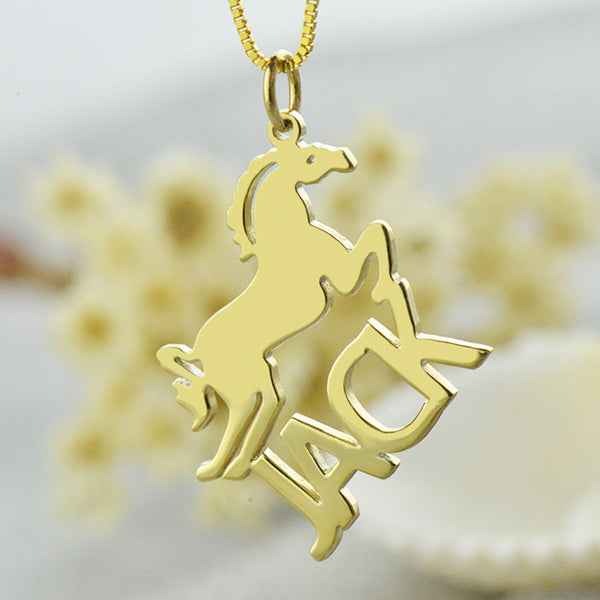 Gold Horse Necklace with Cut Out Name Necklace Personalized Name Jewelry Horse - The Big Boy Store