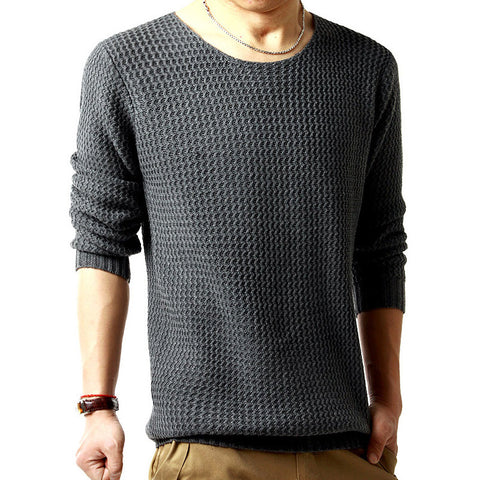 Pullover sweater male o-neck sweater 2016 long sleeved 3 colors SIZE:M-XXL Dark Grey
