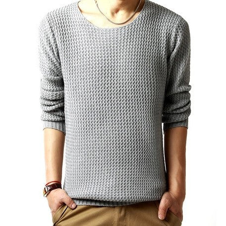 Pullover sweater male o-neck sweater 2016 long sleeved 3 colors SIZE:M-XXL Light Grey