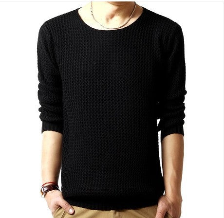 Pullover sweater male o-neck sweater 2016 long sleeved 3 colors SIZE:M-XXL Black
