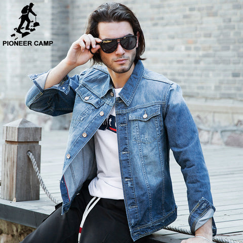 Pioneer Camp men denim jacket brand clothing 100%cotton casual mens jean jacket dark blue solid coat male Autumn Spring 566351 - The Big Boy Store