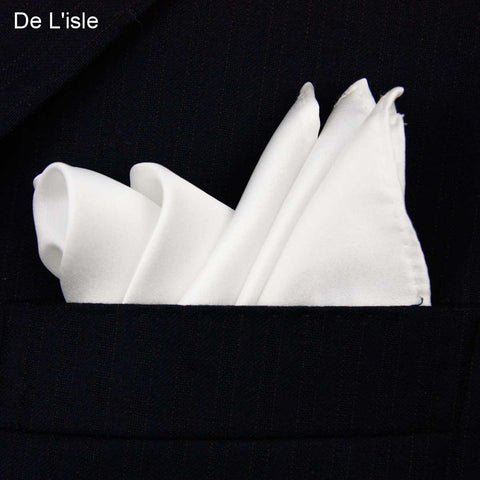 100% Natural Silk Men's Handmade Classical White Pocket Handkerchief
