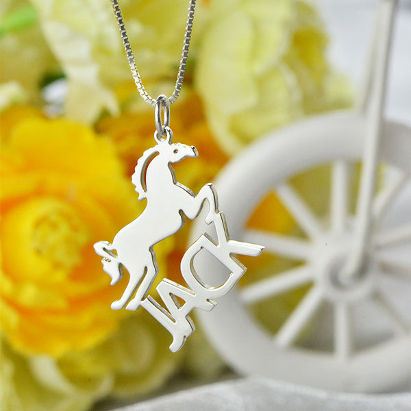 Personalized Horse Nameplate Necklace Silver Horse Necklace Horse Lover - The Big Boy Store