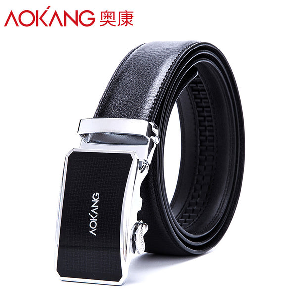 AOKANG 2016 New Brand Designer Belts Men High Quality Black Male Genuine Leather