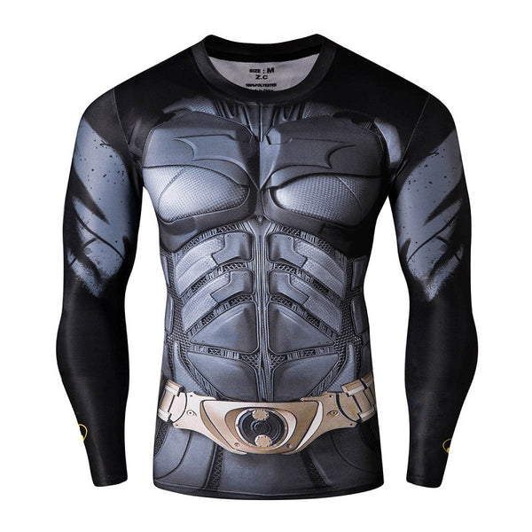 Fashion Fitness Compression Shirt Men Superman Captain America Batman Spiderman Iron Man