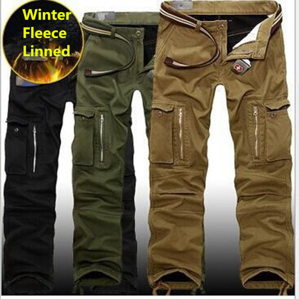Plus size Men Cargo Pants Winter Thick Warm Pants Full Length Multi Pocket - The Big Boy Store