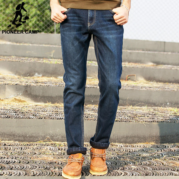 Pioneer Camp brand clothing fleece winter jeans men high quality fashion casual male denim - The Big Boy Store