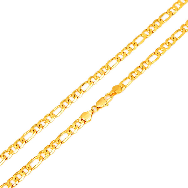"Hot Sale Men's 18K Yellow Gold Plated Italy Figaro Chain Necklace 24"" 60CM - The Big Boy Store"