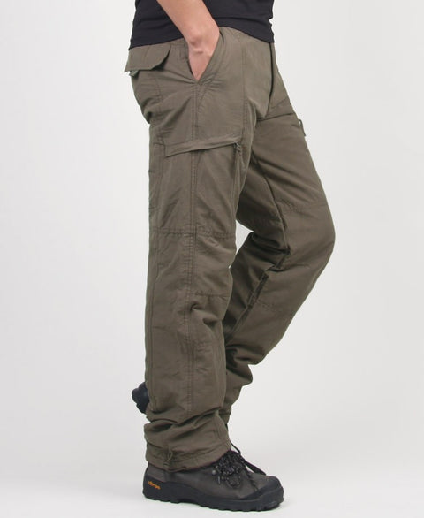 Winter Double Layer Men's Cargo Pants Warm Male Military Camouflage Tactical