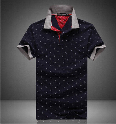Mens Printed POLO Shirts Brands 100% Cotton Short Sleeve Navy Blue