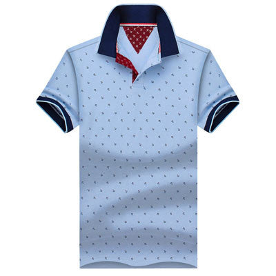 Mens Printed POLO Shirts Brands 100% Cotton Short Sleeve Light Blue