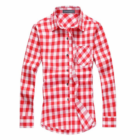 TANGNEST Men Plaid Shirt Men's Fashion Plaid Long-sleeved Shirt