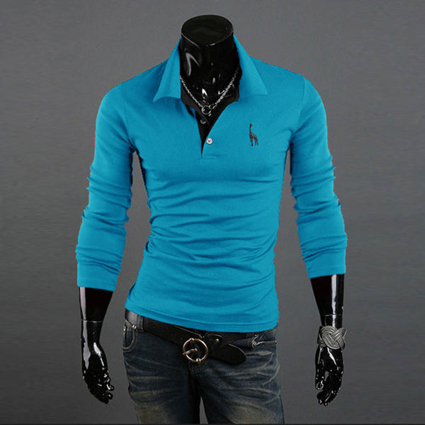 NEW Men's Slim Lapel Long Sleeve Polo Shirt Pullover - The Big Boy Store