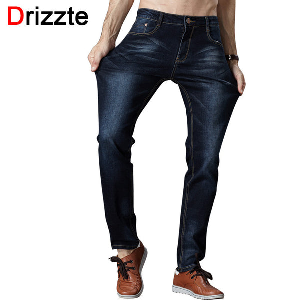 Drizzte Men's Jeans High Stretch Fashion Black Blue Denim Brand Men Slim Fit Jeans Size 30 32 34 35 36 38 40 42 Pants Jean - The Big Boy Store