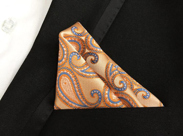 Orange Blue Paisley Handkerchief for Men Suit Polysester Red Paisley and Dot Men Fashion Paisley Pocket Square Tie Handkechief - The Big Boy Store