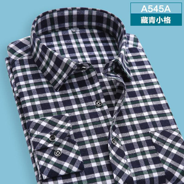 Men's shirts tops fashion loose Leisure long-sleeved plaid shirt with flannel