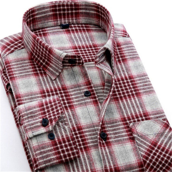 4XL Cotton Flannel Men Shirts 2016 fashion winter long plaid shirt red grey