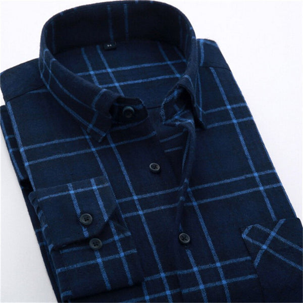4XL Cotton Flannel Men Shirts 2016 fashion winter long plaid shirt dark blue